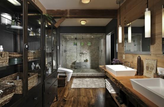 Dark and Rustic Retreatspa bathroom   The Daily Batch. Rustic Spa Bathroom. Home Design Ideas